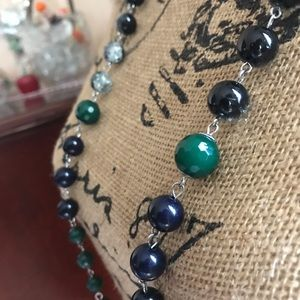 New York & Company Green and Navy Orb Necklace